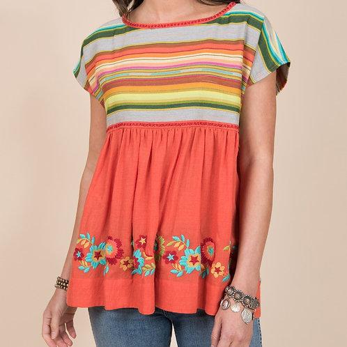 Stripe Floral Orange Top