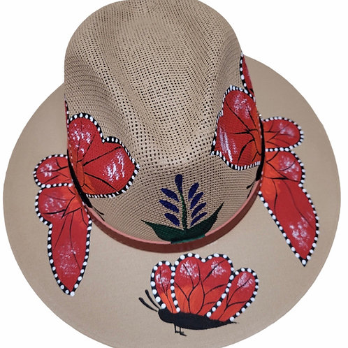 Red Butterfly Straw Hat