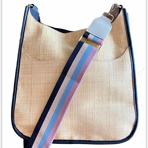 Raffia Messenger Bag with Black Trim