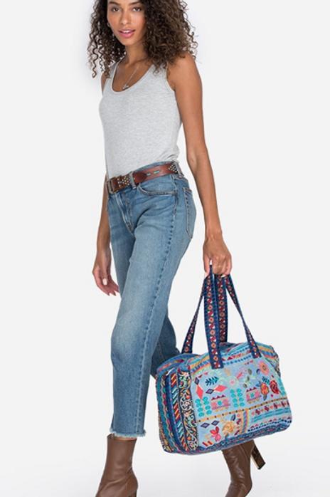 Denim Duffel Embroidery Bag