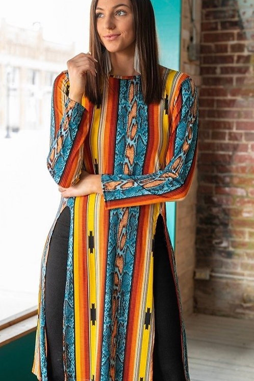Aztec Long Sleeve Printed Top
