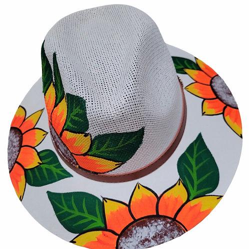 White Sunflower Straw Hat