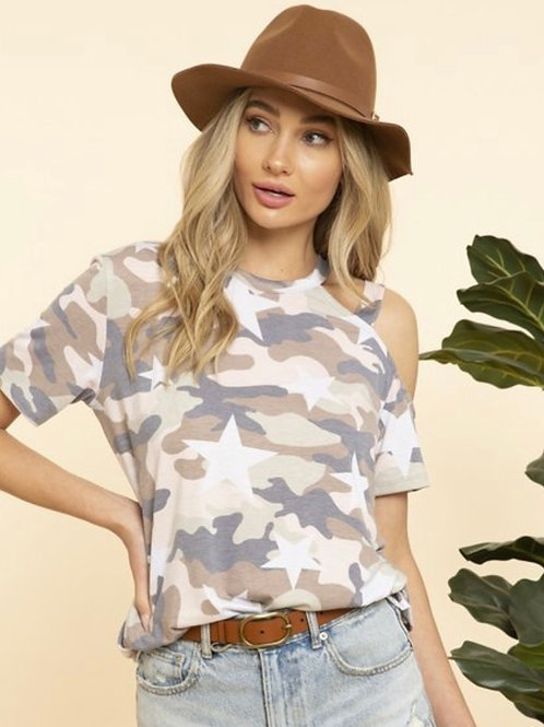 Star Camo Printed Top