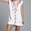 Thumbnail: Driftwood White Linen Short Sleeve Dress with Deep red Floral Embroidery