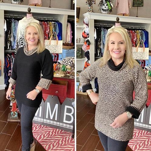 Reversible Leopard/Solid Black Sweater