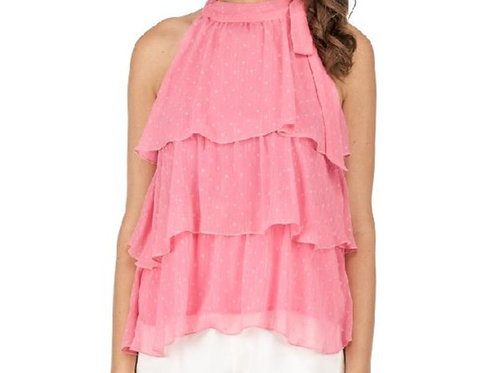 Pink Sleeveless Ruffle Top