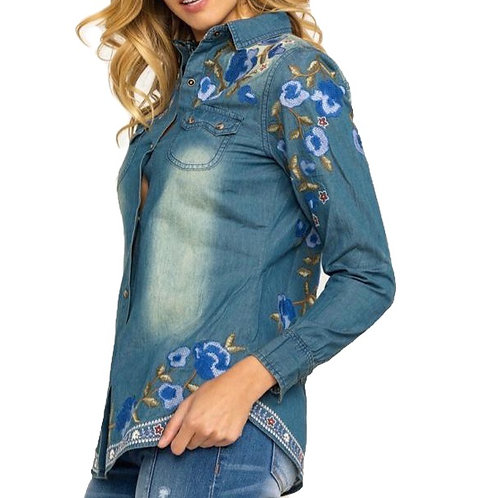 Denim Top with Embroider Flowers & Flag