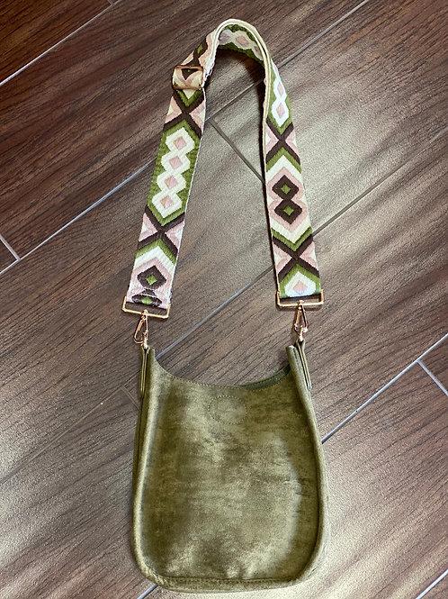 Olive Faux Suede Mini Handbag Cross Body