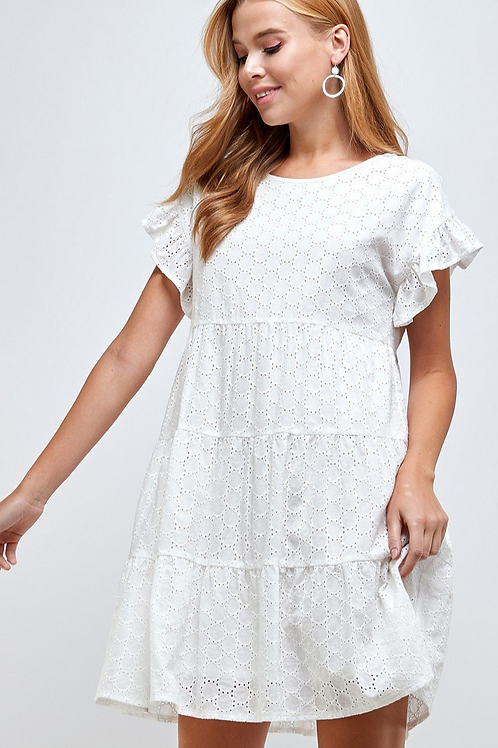 White Lace Tiered Dress