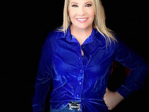 Royal Blue Velvet Button Shirt