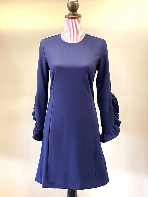 Navy Dress with Ruffle Sleeve