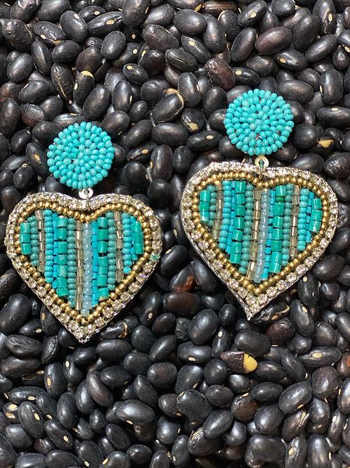 Heart Beaded Earrings ~ Post