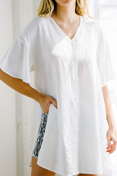 Solid White Button Down w/ Slit on Side