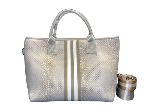 Fawn with Stripe Satchel Tote