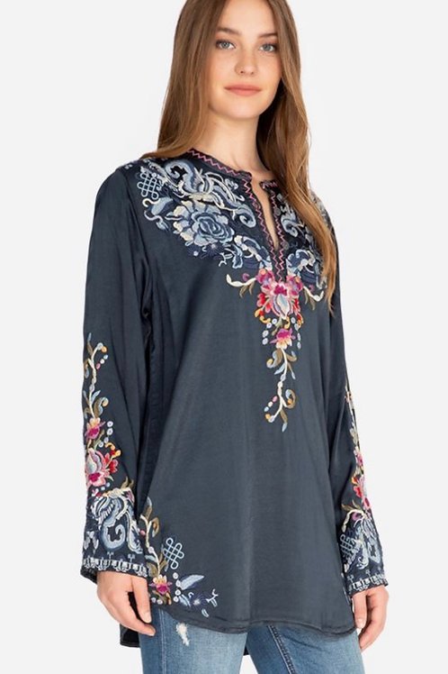 Johnny Was Slate Satin Embroidery Top