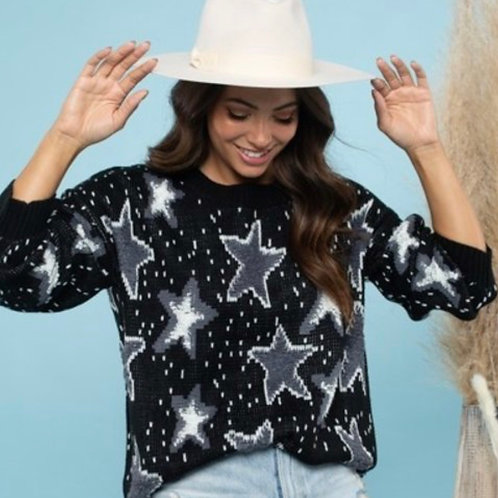 Star All Over Sweater ~ Black & White