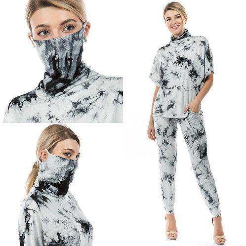 Mask Jogger Set ~ Black & White Tie Dye Top, Bottom