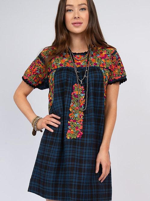 Blue Plaid Embroidery Dress