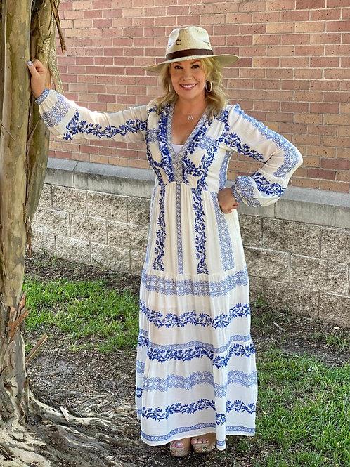 Hale Royal Blue & White Maxi Dress