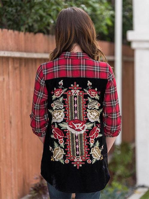 Embroidery Top Red & Black Floral Velvet Backing