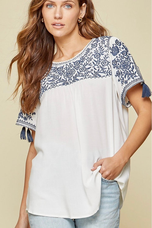 Navy Embroidery Detail Top