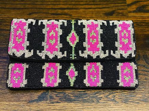 Black & Pink Beaded Clutch/Crossbody