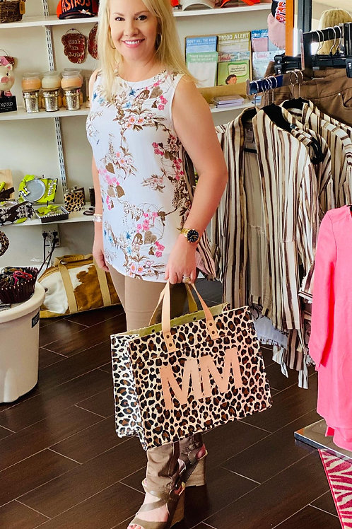 Sleeveless Top Leopard Taupe Print