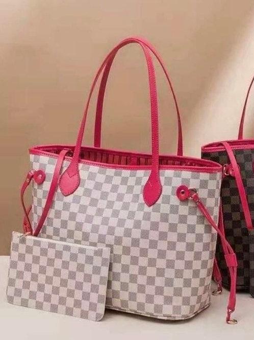 Tote Bag- White & Pink