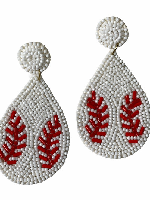 Baseball Earring Beaded ~ Post