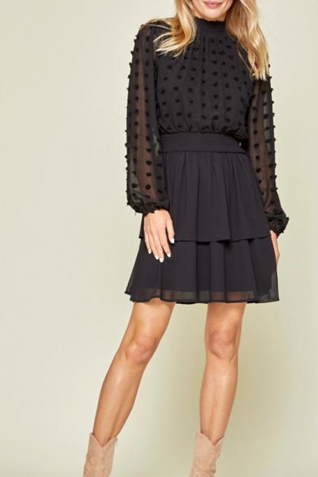Black Sheer Dot Dress