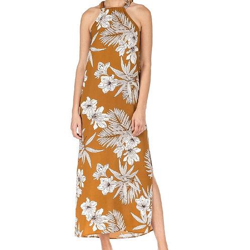 Brown Tropical Maxi Dress