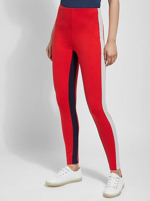 Lysee Red, Navy & White Strip Tummy Control Legging