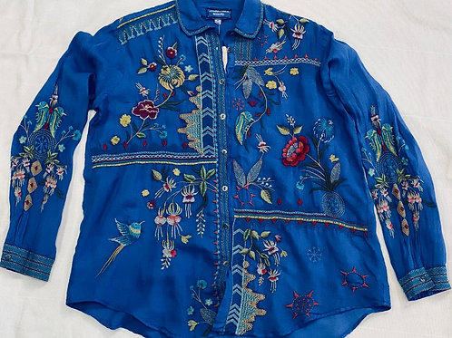 Johnny Was Butterfly Blue Top Long Sleeve