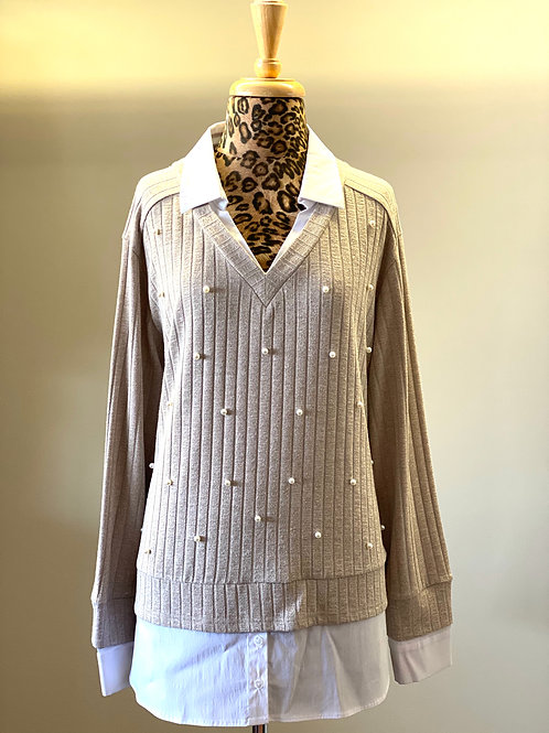 Sharon Young Sweater with Built In Collar & Sleeve with Pearls