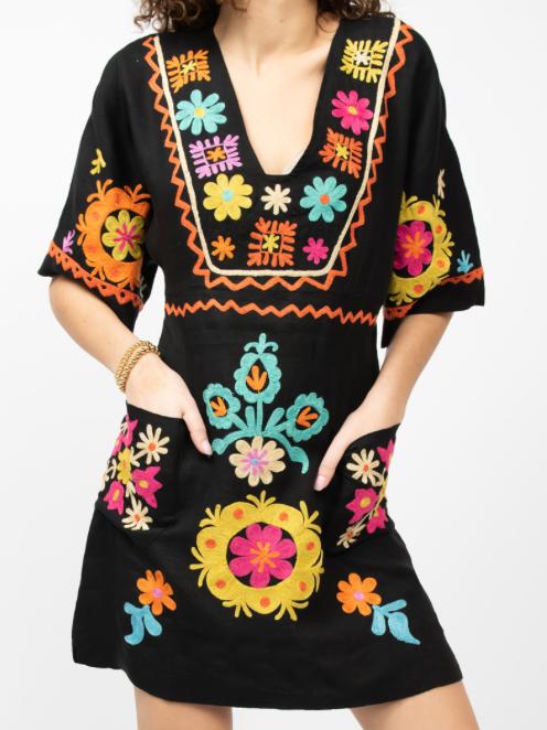 Ivy Jane Kaleidoscope Colorful Dress Black