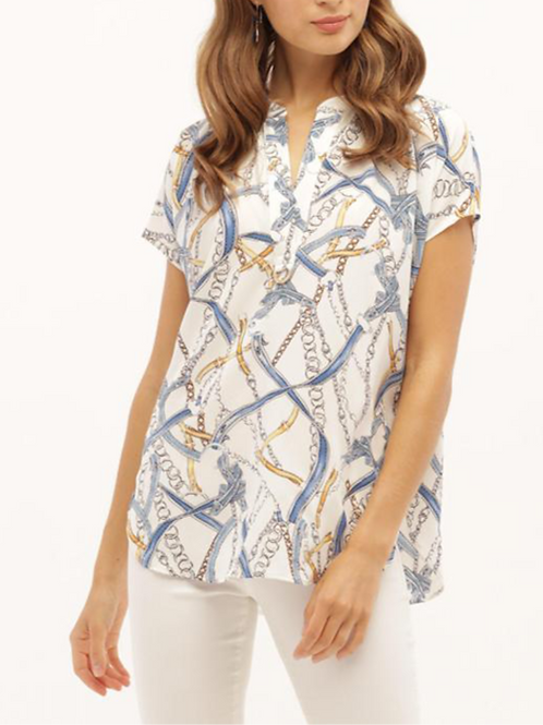Chain Blue & Gold Top