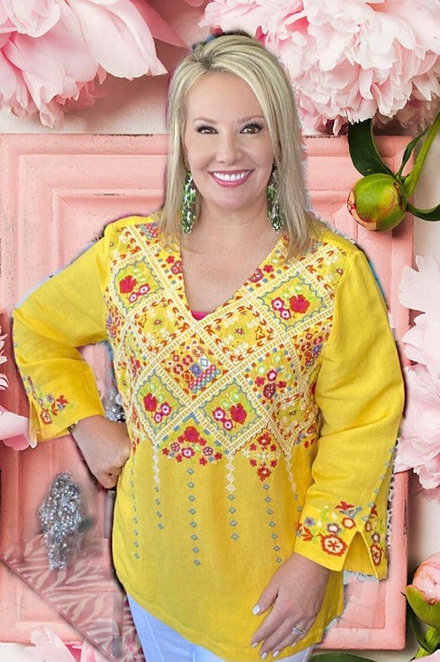 Yellow Embroidery Floral Top