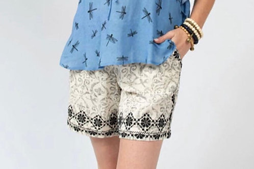 Black & Ivory Embroidered Shorts Ivy Jane