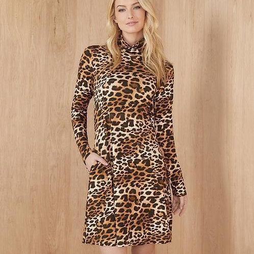 Turtleneck Leopard Dress  with Pockets