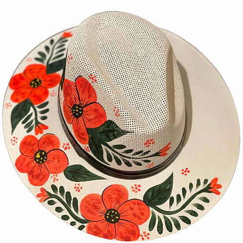 Red Hibiscus Straw Hat