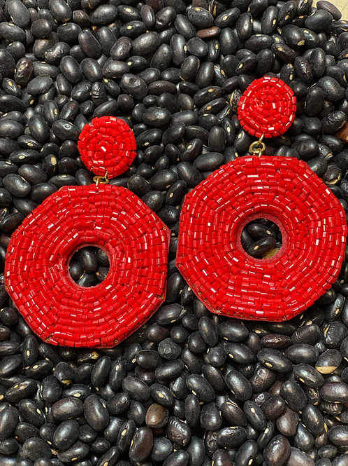 Red Beaded Earring - Post