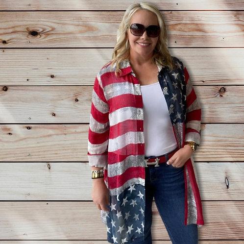 USA Flag Button Up
