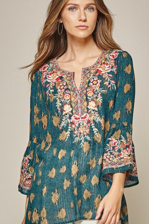 Dark Turquoise Top with Embroidery