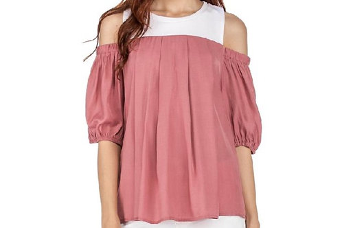 Cold Shoulder Color Block Rose Pink