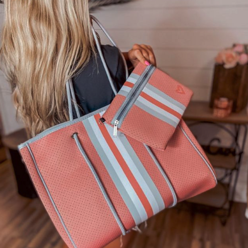 Light Coral Tote with Clutch