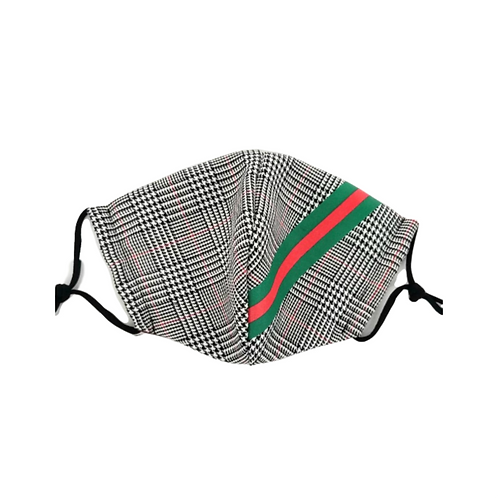 Plaid Stripe Designer Mask ~ Unissex ~ Double Layer