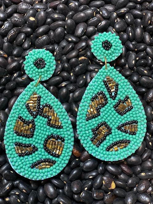 Turquoise Leopard Beaded Earrings - Post