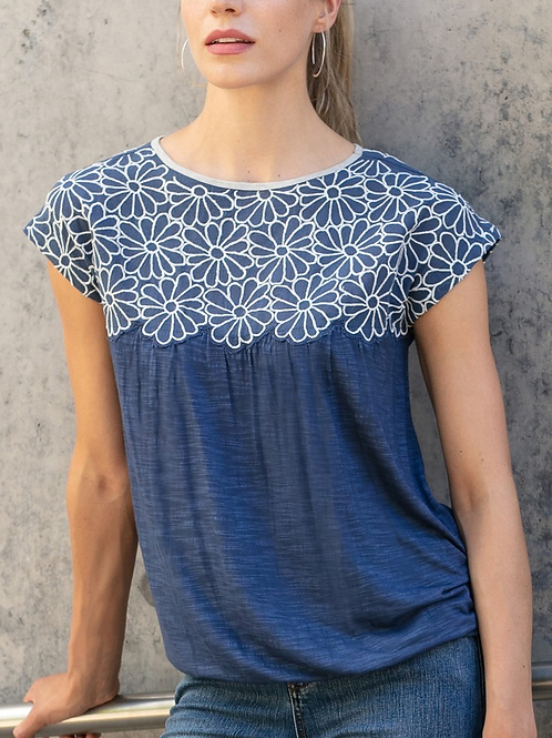 Embroidered White Floral Navy Top ~ Side Tie
