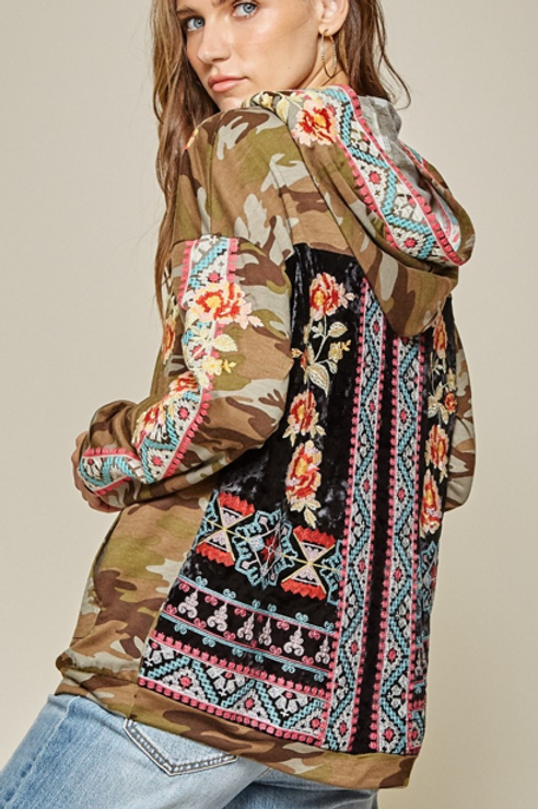 Camo & Floral Embroidery Hoodie
