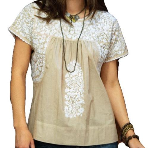 Khaki & White Embroidery Top